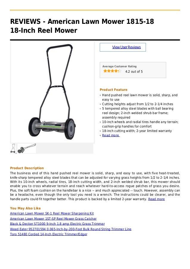 American lawn mower 1815 18 18-inch reel mower