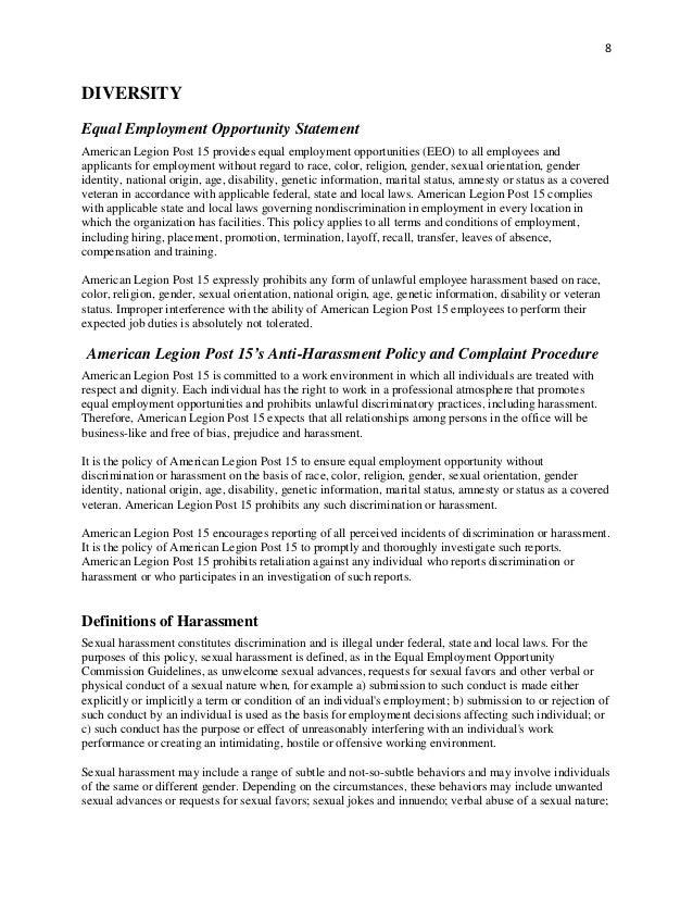 American Legion Post  Employee Handbook