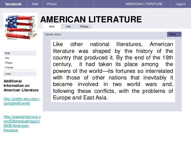 facebook AMERICAN LITERATURE Wall Photos AMERICAN LITERATURE Logout Wall Info Photos Like other national literatures, Amer...