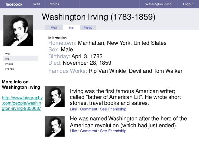 a biography and works of washington irving the first real american writer Washington irving an american original  celebrity and the first american writer truly  is irving himself he's a real writer we shouldn.