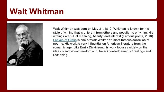 an analysis of the differences of two greatest american poets emily dickinson and walt whitman Comparing walt whitman and emily dickinson father emily dickinson and walt whitman were two of the best poets in of the greatest american poets of the.