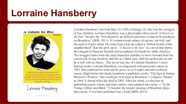 lorraine hansberrys career in literature Read this excerpt from lorraine hansberry's a raisin in the sun in which ruth and mama discuss walter's refusal to take lindner's money: - 3180521.