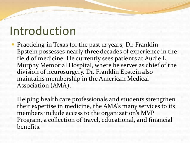 an introduction to the american medical association ama Subject: expert witness testimony  introduction this informational  all three resolutions called upon the american medical association (ama).