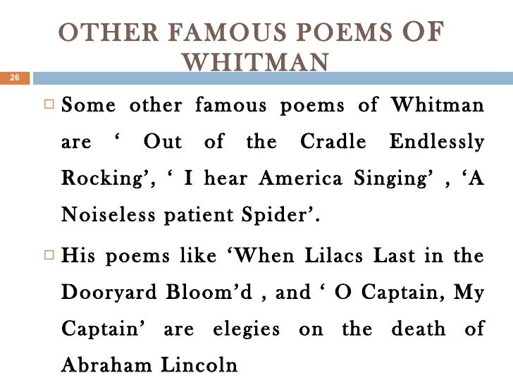 an analysis on walt whitmans out of the cradle endlessly rocking Out of the rocked cradle whitman the line out of the cradle endlessly rocking a nicely done analysis of out of the cradle endlessly.