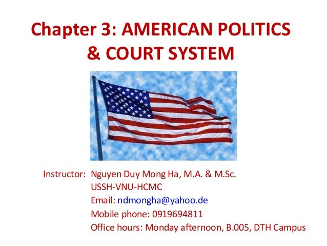 Chapter 3: AMERICAN POLITICS      & COURT SYSTEM Instructor: Nguyen Duy Mong Ha, M.A. & M.Sc.             USSH-VNU-HCMC   ...