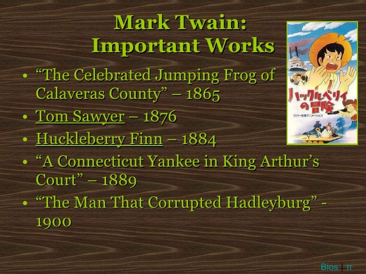 a biography of mark twain and the importance of his works Mark twain  although born samuel langhorne clemens, the author adopted  what is one of  ranging from life along the mississippi river, detailed in famous  works such as  twain was an influential writer of his time and remains so today.
