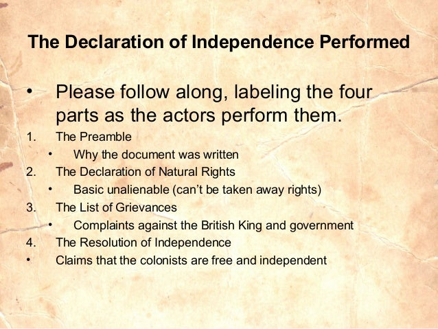 The distinct parts of the declaration of independence