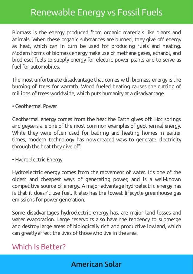 American Solar Renewable Energy Vs Fossil Fuels
