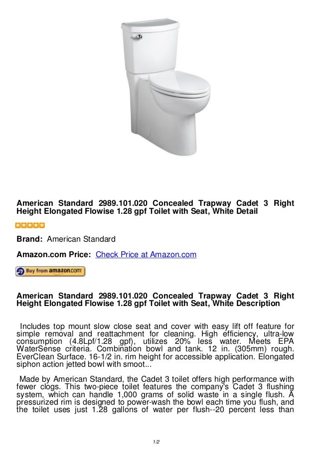 american standard concealed trapway cadet 3 rightheight elongated flowise 128 gpf toilet with