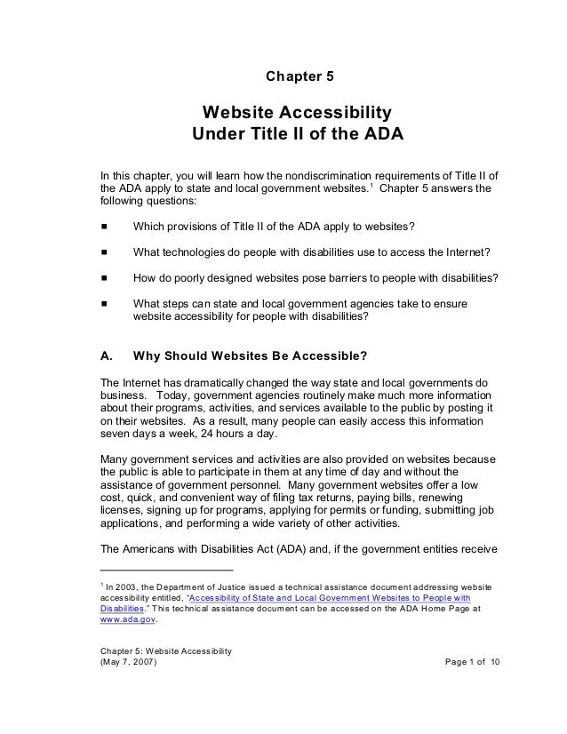 "In 2003, the Department of Justice issued a technical assistance document addressing website1 accessibility entitled, ""Acc..."