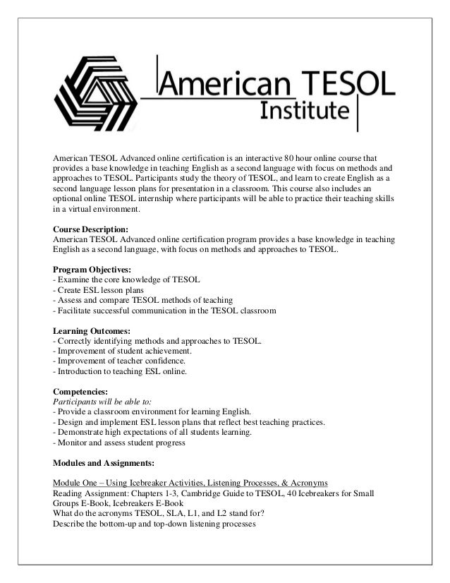American Tesol Advanced Syllabus