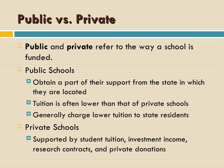 private and public education essay This report uses data from the pisa 2009 database and education at a glance 2011: oecd indicators to investigate public and private involvement in managing and funding schools.