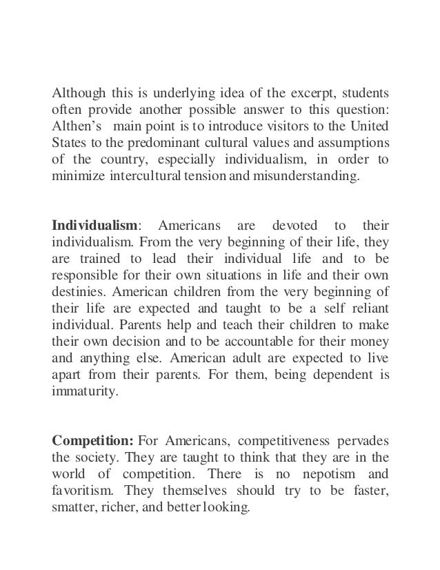 American values and assumptions essay