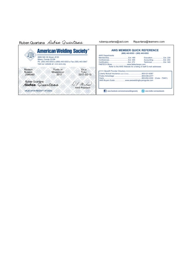 American Welding Society Member 2046461