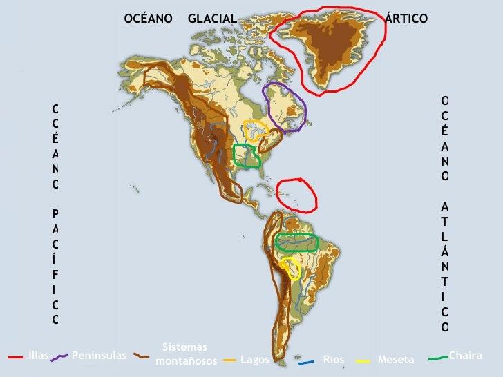 Ríos Sistemas  montañosos Penínsulas Chaira Illas Meseta Lagos OCÉANO PACÍFICO OCÉANO ATLÁNTICO OCÉANO  GLACIAL  ÁRTICO