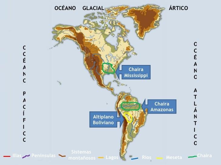 Ríos Sistemas  montañosos Penínsulas Chaira Illas Meseta Lagos OCÉANO PACÍFICO OCÉANO ATLÁNTICO OCÉANO  GLACIAL  ÁRTICO Ch...