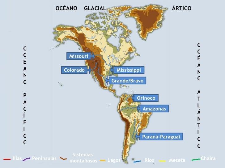 Ríos Sistemas  montañosos Penínsulas Chaira Illas Meseta Lagos OCÉANO PACÍFICO OCÉANO ATLÁNTICO OCÉANO  GLACIAL  ÁRTICO Pa...