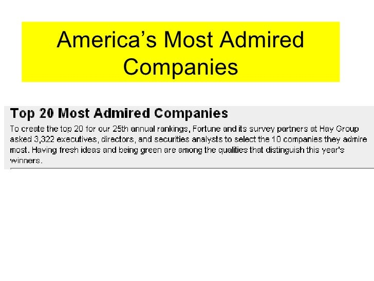 america s most admired companies 2004 and To identify america's most admired companies for 2004, fortune and its survey partner, the hay group, asked 10,000 executives, directors and securities analysts to select the 10 largest.