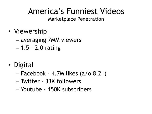 America's Funniest Videos Marketplace Penetration • Viewership – averaging 7MM viewers – 1.5 - 2.0 rating ! • Digital – F...