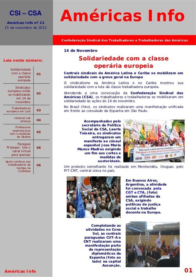 El movimiento s.      CSI – CSA    Américas Info nº 21  15 de novembro de 2012                             Américas Info  ...