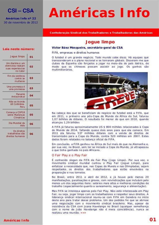 El movimiento s.     CSI – CSA    Américas Info nº 22  30 de novembro de 2012                              Américas Info  ...