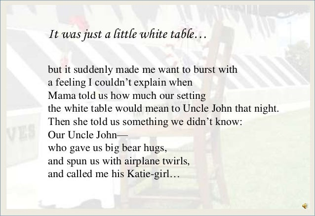 photograph relating to Missing Man Table Poem Printable identified as Americas white desk