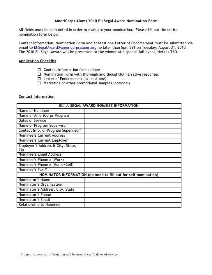 Ameri corps alums eli segal award nomination form 2010
