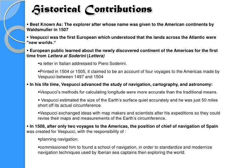 amerigo vespucci essay Unlike most editing & proofreading services, we edit for everything: grammar, spelling, punctuation, idea flow, sentence structure, & more get started now.