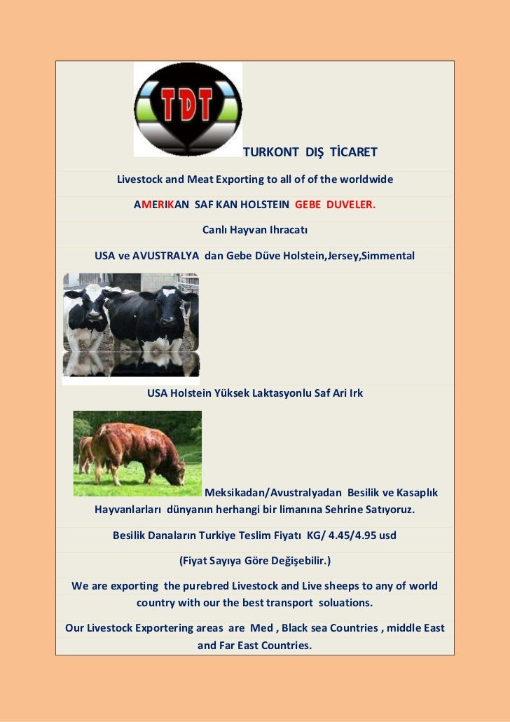 TURKONT DIŞ TİCARET          Livestock and Meat Exporting to all of of the worldwide             AMERIKAN SAF KAN HOLSTEIN...