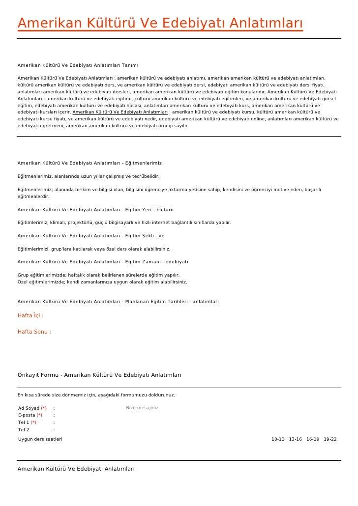 Amerikan Kültürü Ve Edebiyatı AnlatımlarıAmerikan Kültürü Ve Edebiyatı Anlatımları TanımıAmerikan Kültürü Ve Edebiyatı Anl...
