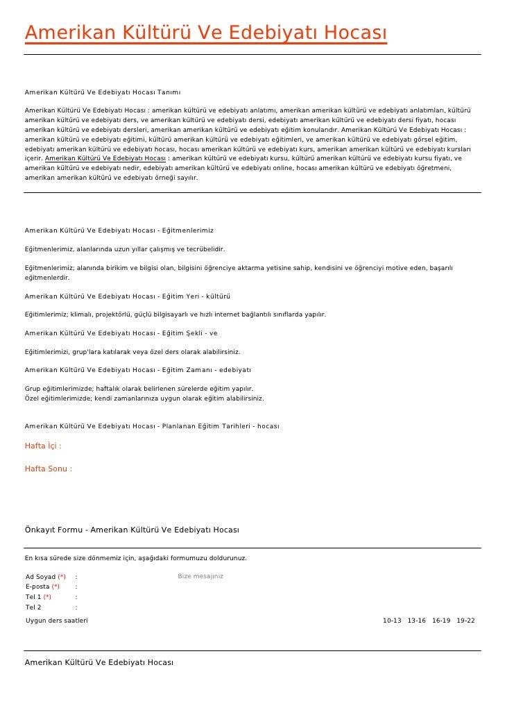 Amerikan Kültürü Ve Edebiyatı HocasıAmerikan Kültürü Ve Edebiyatı Hocası TanımıAmerikan Kültürü Ve Edebiyatı Hocası : amer...