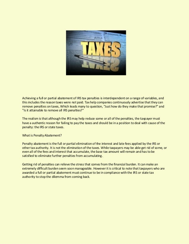 Ameri Pride Tax Group Shares Requirements For Penalty Abatement