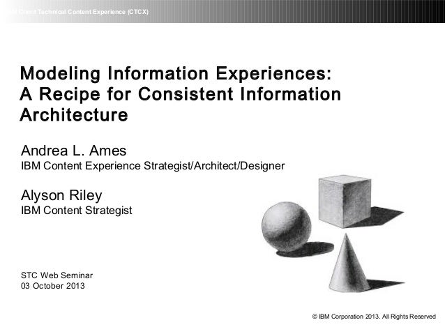 IBM Client Technical Content Experience (CTCX) Modeling Information Experiences: A Recipe for Consistent Information Archi...