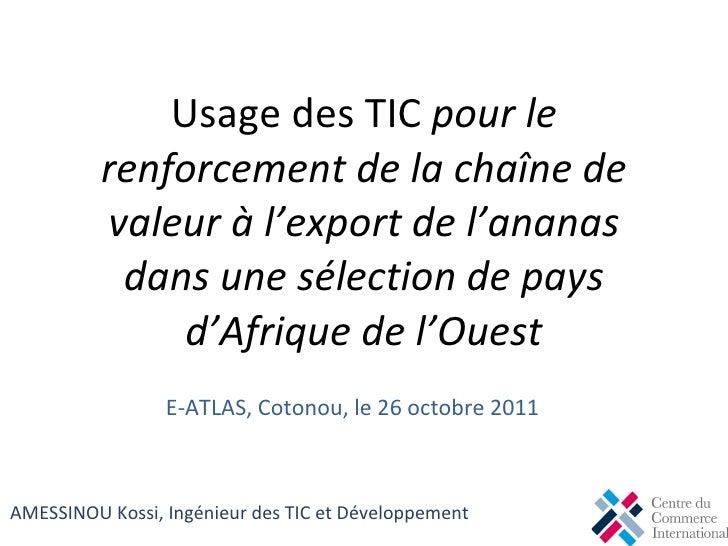 Usage des TIC  pour le renforcement de la chaîne de valeur à l'export de l'ananas dans une sélection de pays d'Afrique de ...
