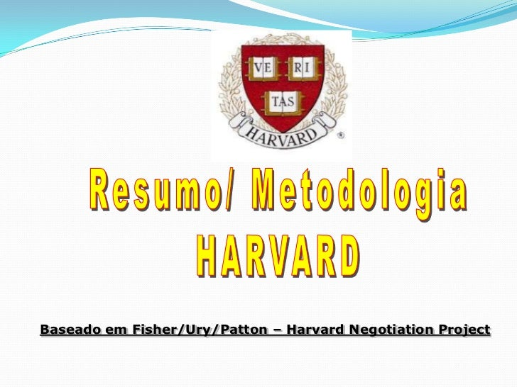 Resumo/ Metodologia<br />HARVARD<br />Baseado em Fisher/Ury/Patton – Harvard Negotiation Project<br />