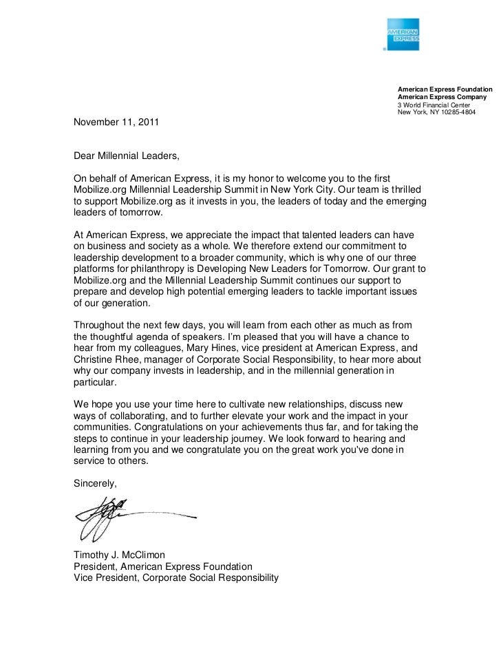 Special Letter From Timothy Mcclimon President Of American Express F
