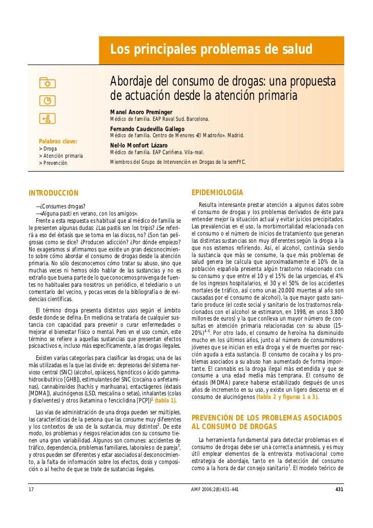 Los principales problemas de salud                                   Abordaje del consumo de drogas: una propuesta        ...