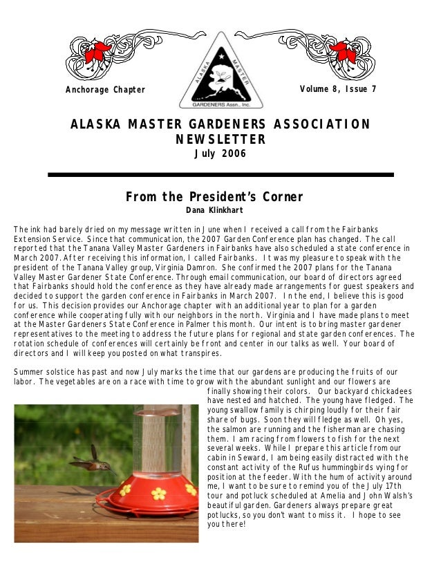 Anchorage Chapter                                               Volume 8, Issue 7               ALASKA MASTER GARDENERS AS...