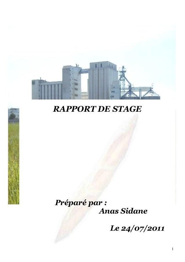 RAPPORT DE STAGE Préparé par : Anas Sidane Le 24/07/2011 1