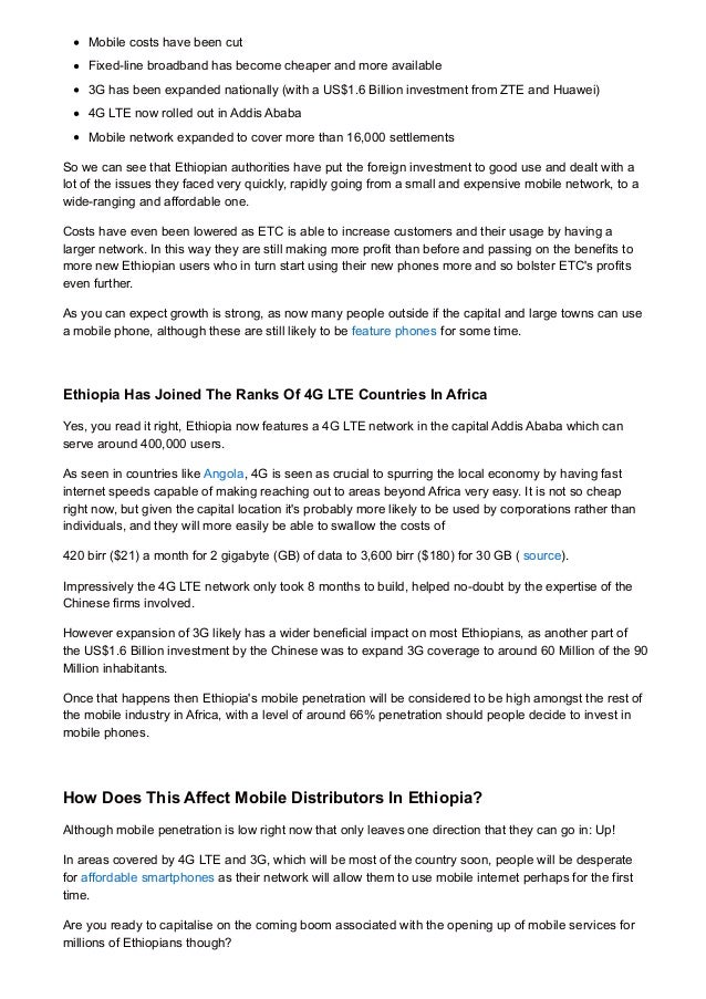 Mobile industry in Africa: The Ethiopia mobile industry