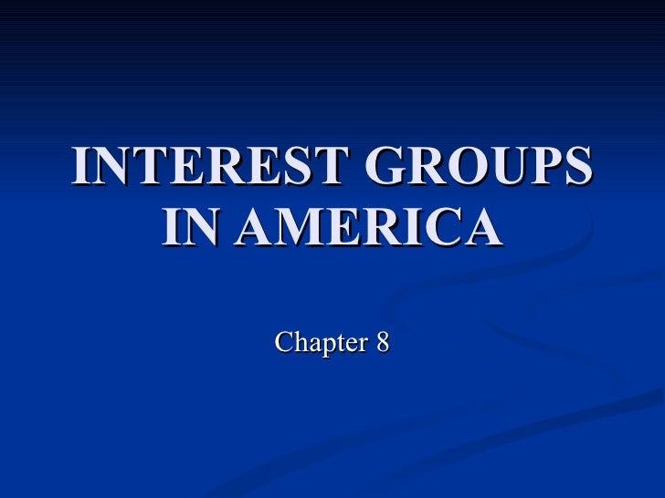 INTEREST GROUPS IN AMERICA Chapter 8