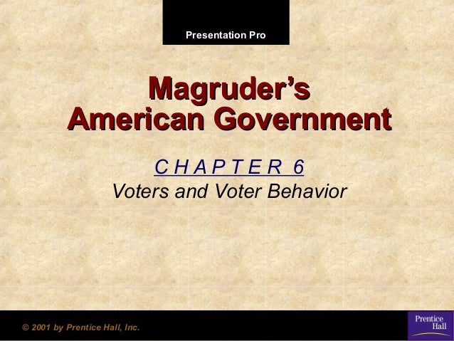Presentation Pro  Magruder's American Government CHAPTER 6 Voters and Voter Behavior  © 2001 by Prentice Hall, Inc.