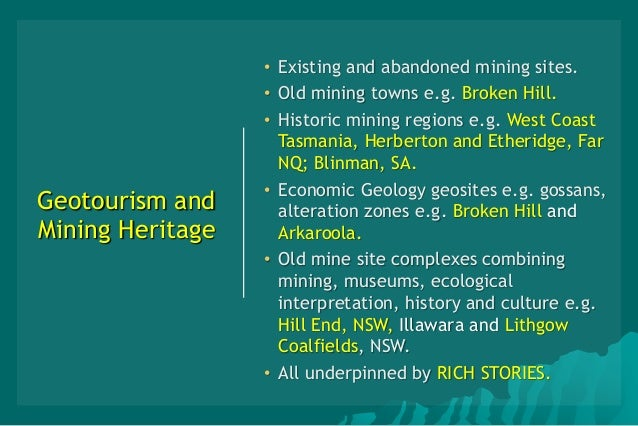 Geotourism, Mining and Mineral Heritage