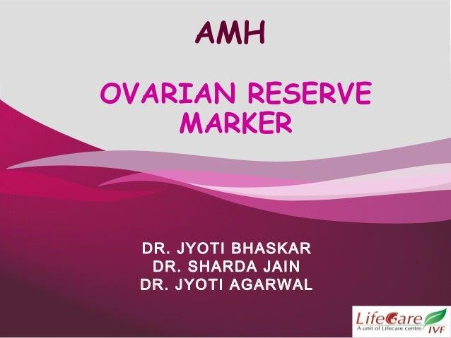 1 AMH OVARIAN RESERVE MARKER DR. JYOTI BHASKAR DR. SHARDA JAIN DR. JYOTI AGARWAL