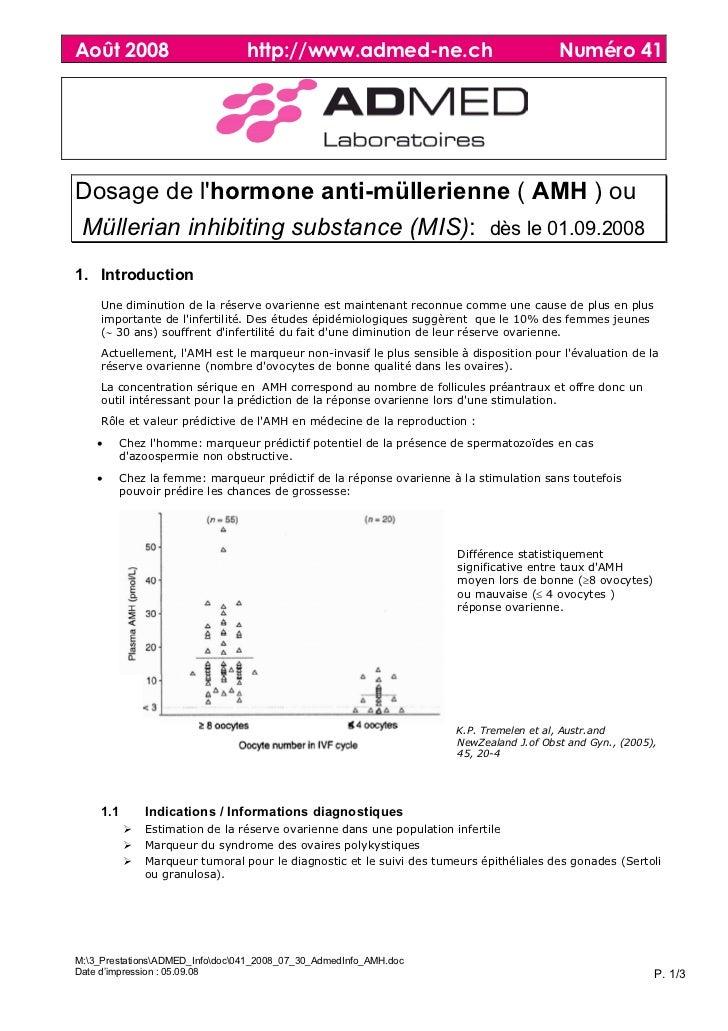 Août 2008                        http://www.admed-ne.ch                                 Numéro 41Dosage de lhormone anti-m...