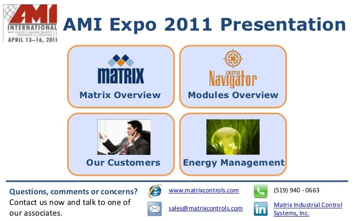 AMI Expo 2011 Presentation                 Matrix Overview          Modules Overview                   Our Customers      ...