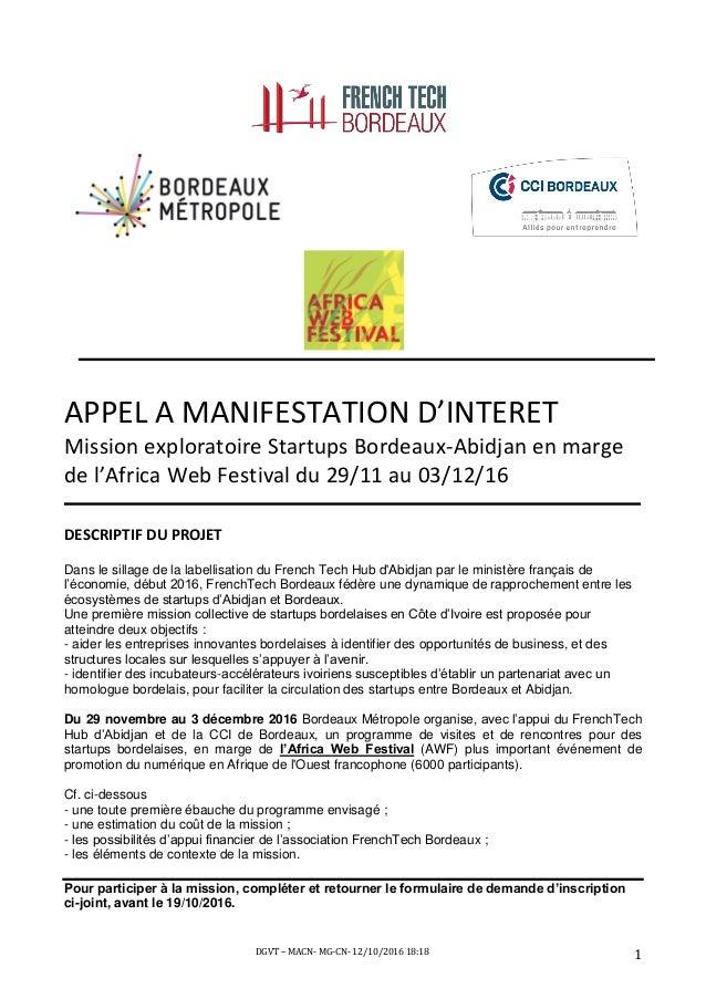 DGVT – MACN- MG-CN- 12/10/2016 18:18 1 APPEL A MANIFESTATION D'INTERET Mission exploratoire Startups Bordeaux-Abidjan en m...