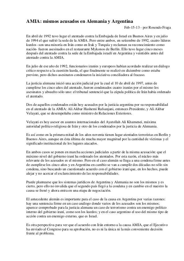 AMIA: mismos acusados en Alemania y Argentina                                                                   Feb-15-13 ...