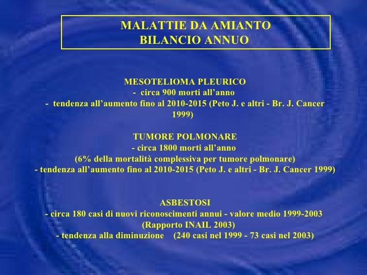 MALATTIE DA AMIANTO BILANCIO ANNUO  MESOTELIOMA PLEURICO -  circa 900 morti all'anno  -  tendenza all'aumento fino al 2010...