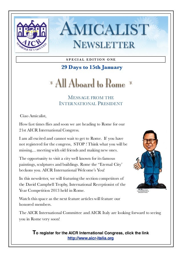 AMICALIST                                 NEWSLETTER                            SPECIAL EDITION ONE                       ...